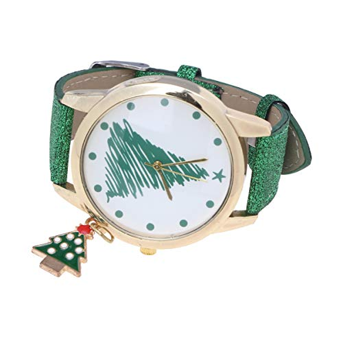 HEMOBLLO - Reloj de Pulsera para Mujer con Pulsera de Purpurina y Colgante con Encanto para Navidad, Vacaciones Festivas, Regalo para Mujer (árbol de Navidad Verde)