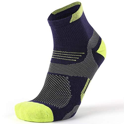 MEIKAN2021 neue verbesserte Laufsocken, Sportsocken, atmungsaktive und schweißabsorbierende COOLMAX schnell trocknende Baumwollsocken, die beste Wahl für Outdoor-Sportarten (Lila +Gelb, EU39-43/UK6-8)