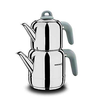 Korkmaz Hera Minta Turkish Teapot Set for Stove Top, Stainless Steel Double Tea Pots with Bakalite Handle, Persian Samovar Style Tea Kettle, 2.1 qt