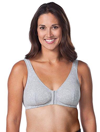 Leading Lady Women's Plus Size Sleep Leisure Cotton Bra, Grey, 34F/G/H
