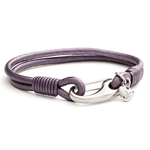 Purple Charm Bracelet with Heart Charm, Leather Bracelet for Women 2-Strand Winter Berry Colour Bracelet 19cm.Great Gift by Tribal Steel