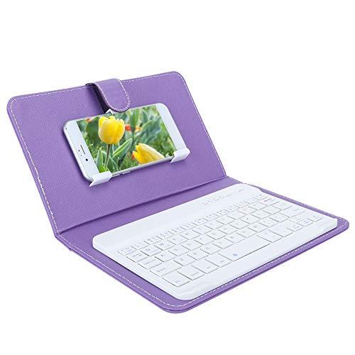 Exliy Teclado con Funda Protectora, Teclado Bluetooth inalámbrico portátil, Funda de Piel sintética con Teclado, con función de Soporte(Purple)