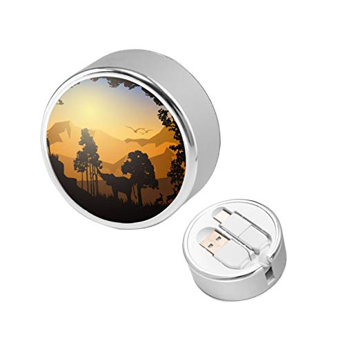 Sunset Forest Retractable Charging Cable 2 in 1 Connector Ports Compatible with Mobile Phones Tablets