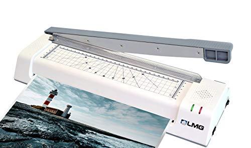 LMG | Multifunktionales Premium Laminiergerät bis DIN A3 - Mit integriertem Profi-Hebelschneider und Eckenrunder, Folien-Starterset - Bis 2x 125 MIC - Hochleistungs-Laminator mit 2-Rollen-Technologie
