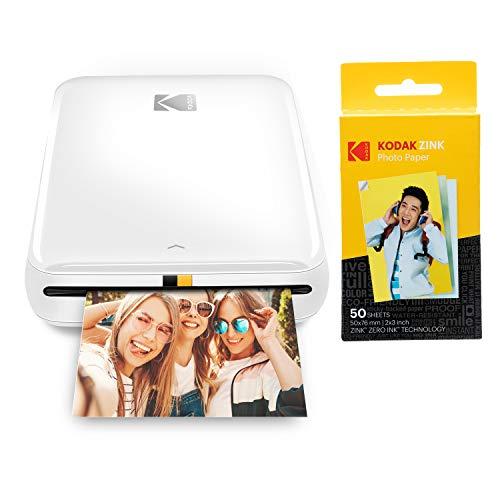 KODAK Step Impresora Móvil con tecnología Zink, Imprime Fotos Adhesivas de 2x3 Pulgadas Desde Cualquier Dispositivo, NFC, Bluetooth, Blanco + Papel fotográfico Zink Premium de 2x3 Pulgadas, 50 Hojas
