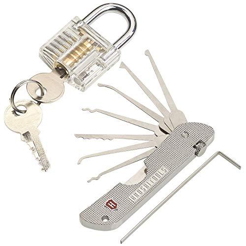 AGT Pickset: Set aus Lockpicking-Tool mit Übungsschloss (Lockpicking-Werkzeug)