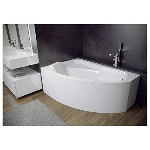 AZURA HOME DESIGN Baignoire d'angle Gauche RIMA 130/140/150/160/170 cm avec Tablier - Dimensions: 130cm