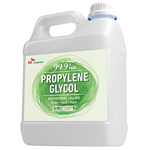99.9% Pure Food Grade Propylene Glycol, 1 Gallon, Moisturizer, Solvent and Humectant, for Fog Machines, Soaps, Lotions and Antifreeze Solution, Eco-Friendly, USP Certified, Kosher, Non-GMO