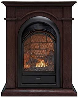 Duluth Forge FDF150T Dual Fuel Ventless Fireplace with Mantel-15,000 BTU, T-Stat, Chocolate Finish