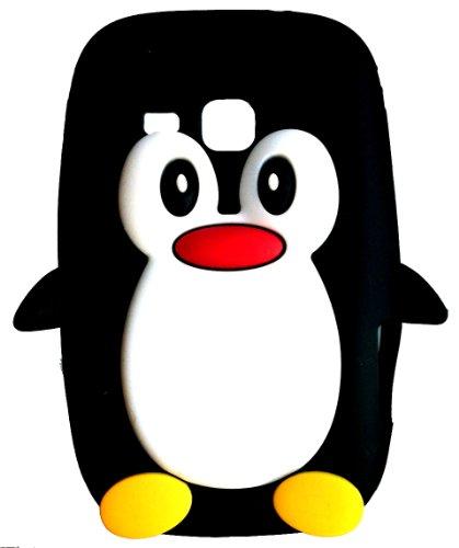 SKS Distribution® Nero Pinguino Custodia in Silicone/Cover/Case per Samsung Galaxy Mini 2 S6500