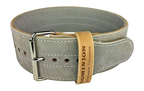 Dominion Strength Training Leather Weightlifting Belt Single Prong for Men and Women - 4 Inch Wide X 10mm Thick (MD 30-40