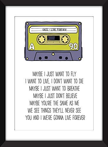 Oasis Live Forever Lyrics Unframed Print/Ungerahmter Druck