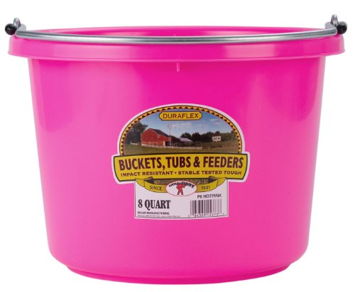 Miller Manufacturing P8HOTPINK Plastic Round Back Bucket for Horses, 8-Quart, Hot Pink