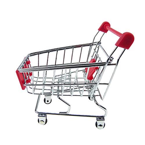 Angoily Mini Carrito de Compras Miniatura Supermercado Hancart Juguete Modelo Pequeño Útil Trolly Escritorio Almacenamiento Juguete Titular (Color Aleatorio)