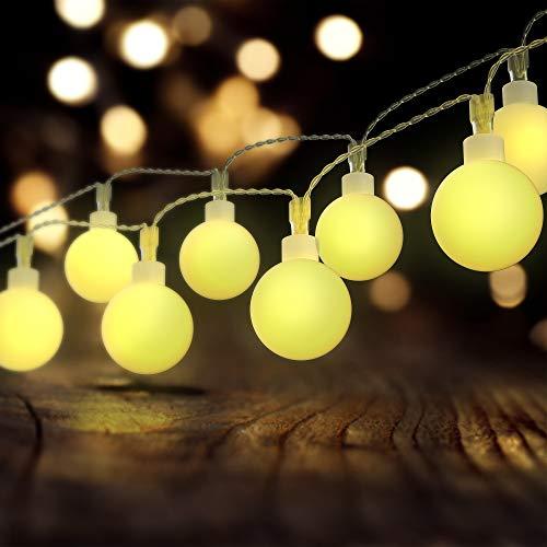 100 Led Lichterkette 10 Meter, USCVIS Warmweiße Kugel Lichterkette Fernbedienung Wasserdicht, Stimmungslichter Lichterkette für Zimmer, Innen, Weihnachten, Kinderzimmer, Außen, Party, Hochzeit.