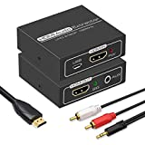 HDMI Audio Extractor,4K HDMI to HDMI with Audio 3.5mm AUX Stereo and L/R RCA Audio Out,HDMI Audio Converter Adapter Splitter Support 4K 1080P 3D Compatable for PS3 Xbox Apple TV Fire Stick.