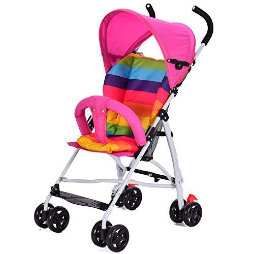 FAFY Kinderwagen Leichter Kinderwagen Klappbares Reisesystem Kann Sitzen,Pink
