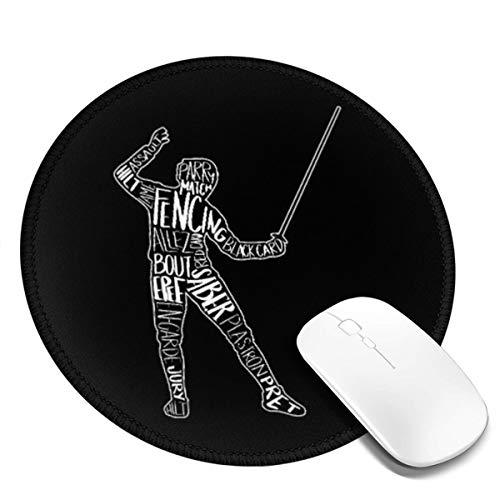 Runde Gaming Mauspad Fechten Schwert Typografie Säbel Fechten, Rutschfest Gummi Mauspad Rund Mauspad für Computer Laptop Mousepad