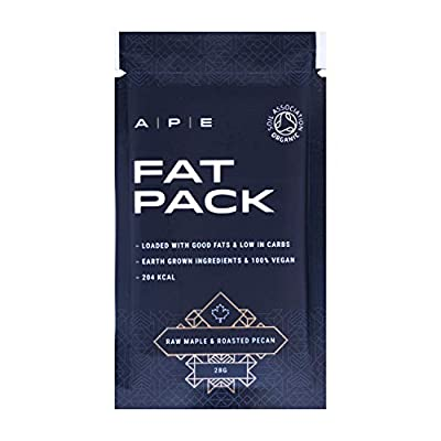 Fat Pack (10 x 28 grams) | Keto Bar | Keto Snack | Keto Diet | No Gluten or Dairy | Organic Real Food Ingredients | Raw Maple and Roasted Pecan Flavour | A P E Nutrition