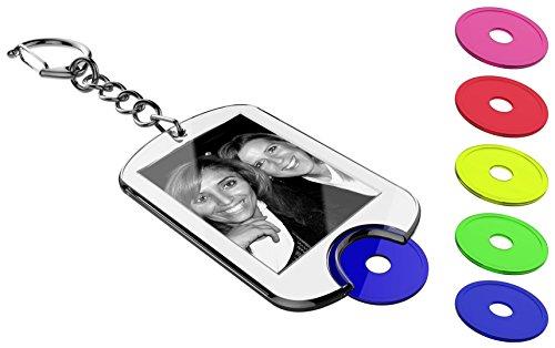 Schlüsselanhänger mit farbig sortierten Einkaufswagen-Chips zum selber machen (5 Stk.) inkl. Druckbögen zum gestalten mit Foto, Namen, Bild