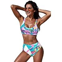 Bikini de Fiesta en la Piscina Grande de Europa y Estados Unidos con Estampado Retro con Sujetador con cojín y Sujetador Triangular con Traje de baño Dividido