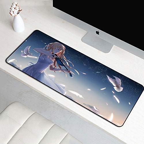 CHLOEG™ XXL Gaming Mauspad - Anime Mädchen Violine weiße Taube 900x400mm Wasserdicht Office Maus Mat mit rutschfeste Unterseite aus Gumm Waschbar Verschleißfest Gemütlich Mousepad Geschwindigkeit und