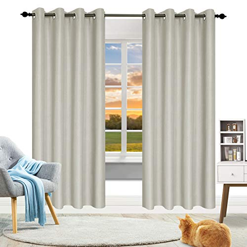 Naturme 84 Inches Long 100% Blackout Curtains - Upgraded Grommet Curtains for Bedroom - Finest Noise Reducing Thermal Insulated Curtains (Light Beige, 2 Pieces, 52 Inches Wide Each Panel)