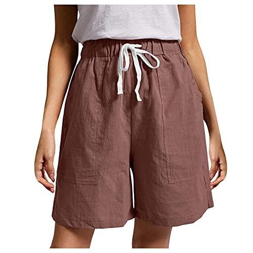 Pantalones cortos de mujer de moda casual con cordón sólido Frenulum bolsillos cortos, café, XL