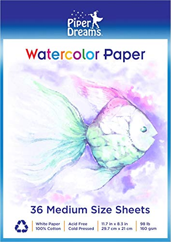 """36 Sheets of Watercolor Paper (11.7"""" x 8.3""""), Heavy Stock (160 GSM), 100% Cotton, Loose White Sheets - Perfect for Kids or Adults"""