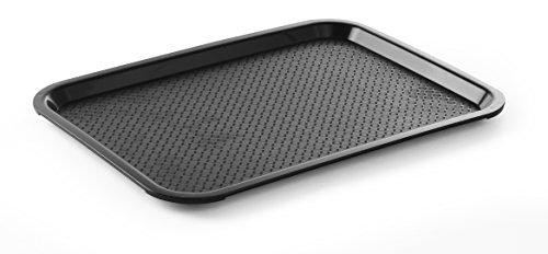 HENDI Serviertablett, Tablett, Temperaturbeständig bis 80°C, Fastfood, Polypropylen, 305x415x(H)20mm, Mittel, Schwarz