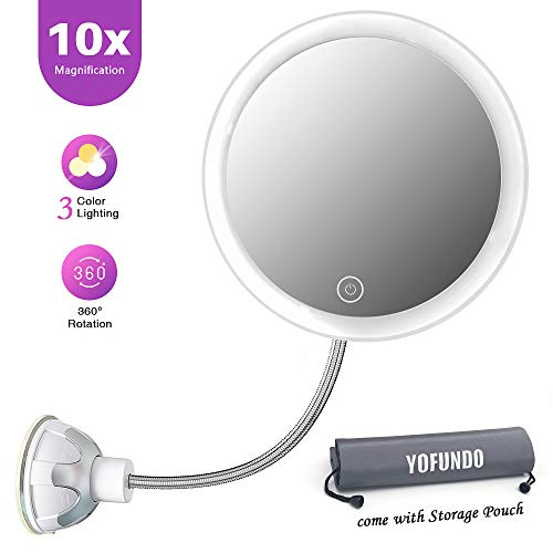 Magnifying Makeup Mirror with LED Lights, 10X Vanity Mirror with Flexible Gooseneck -