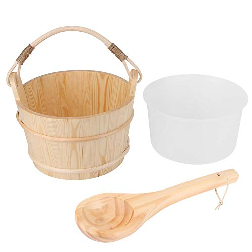 6L Large Capacity Wooden Sauna Barrel Equipped with Ladle for Sauna, Bath, Spa, Swimming Pool
