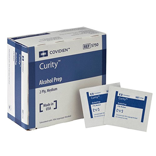 COVIDIEN Curity Alcohol Prep Pads, 5750, Sterile, Medium, Box of 200, 2-Ply, Special Piece of 2 Boxes, (Model: 5750(2))