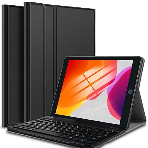 【PCATEC】iPad10.2インチ第7世代超薄レザーケース付きBluetoothキーボード兼スタンド兼カバー☆US配列☆かな入力対応対応型番:A2200A2198A2197(iPad10.2インチ第7世代,ブラック)