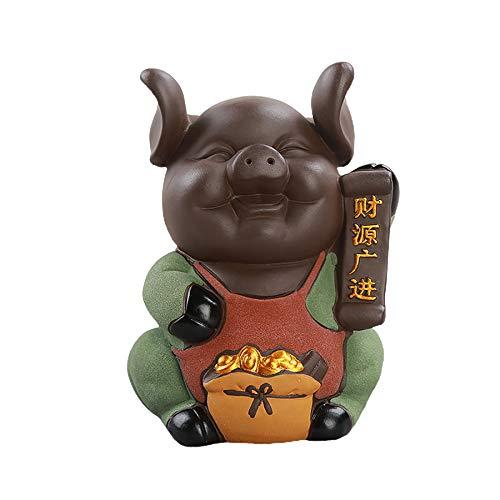Iyom Hucha creativa de cerdito de cerámica con bonito banco para monedas, para fiestas de cumpleaños, regalo de personalidad, decoración para apertura de tiendas, cerdo negro feliz, #3