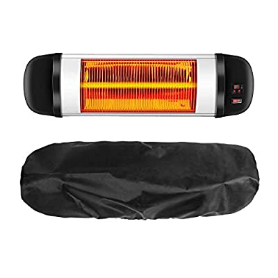 """Ponwec Patio Heater Cover 400D Oxford Cloth Maded Electric Heater Cover,Waterproof and Dust-Proof Infrared Heater Covers 24 Months of Use 30'' H x 9.5"""" D x 8.7"""" B in Black"""