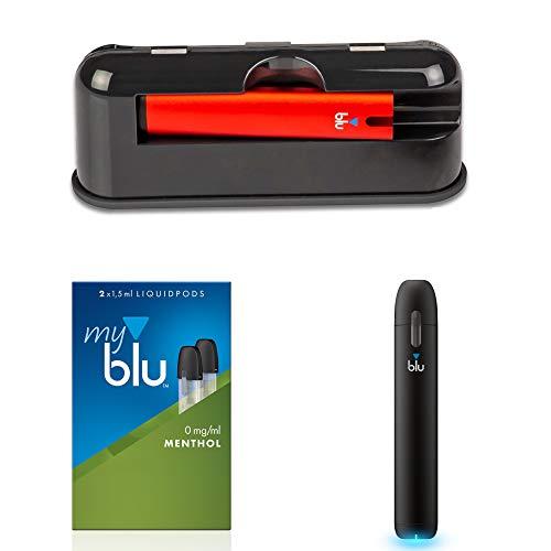 Travel Case Original Myblu Travel Case met 3.000 mAh Power Bank samen met 2 x E-sigaret kleuren zwart en rood Aroma menthol zonder nicotine