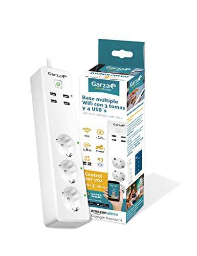 Garza ® Smarthome - Regleta enchufe múltiple wifi inteligente con 4 tomas y 3 puertos USB compatible con Alexa y Google Home. Base múltiple programable, temporizador, control remoto a través de app.