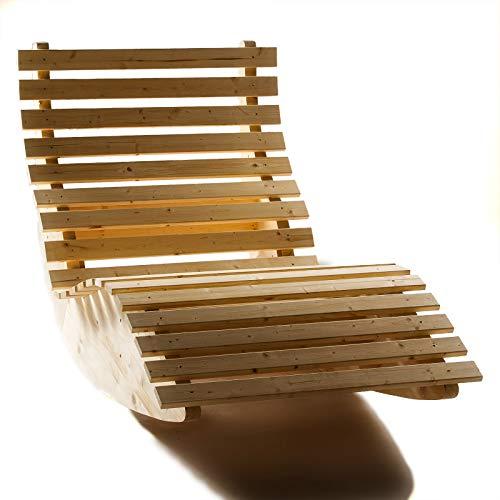 TUGA - Holztech Naturholz 40mm Massive Seitenwangen wetterfeste extrem stabile Schaukelliege Relaxliege Massivholzliege Liege Formliege Sonnenliege EXTRA LIEGELÄNGE 210cm Liegebreite 100cm