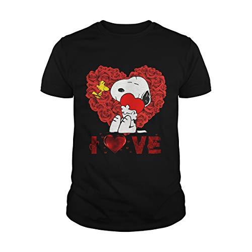 Snoopy Valentine Love Shirt Snoopy and Woodstock, regalo del 14 de febrero, rojo San Valentín, regalo romántico, corazón de rosas