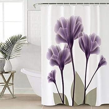 Chic D Home Decor Lavender Hope Flowers Shower Curtain Elegant Floral Purple & White 72 x 72 Inch Long