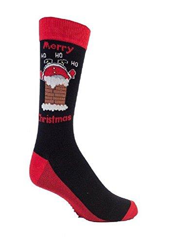 Festive Feet 1 Paar Herren- Neuheit Weihnachts in Schornstein Weihnachtssocken 6-11 UK 39-45 EUR Schwarz