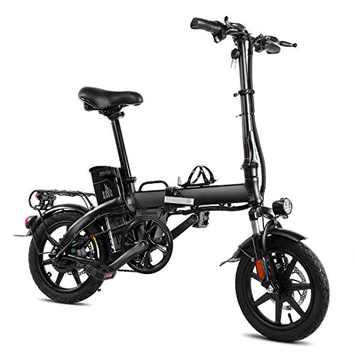 XPRIT Folding Electric Bike, Light Weight, LCD Display, Full Throttle/Pedal Assist (Black, 14 inch)