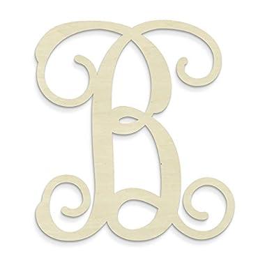 UNFINISHEDWOODCO Single Vine Unfinished Monogram B Decorative Letter, 13-Inch