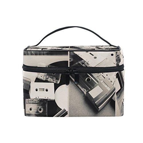 Coosun cassettes audio et disque vinyle Trousse cosmétique sur toile de voyage Trousse de toilette Poignée supérieure simple couche Maquillage Organiseur de sac multifonction Sac de maquillage pour femme