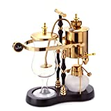 Diguo Belgian / Belgium Family Balance Siphon / Syphon Coffee Maker, Elegant Double Ridged Fulcrum with Tee Handle (Egyptian Black & Gold)
