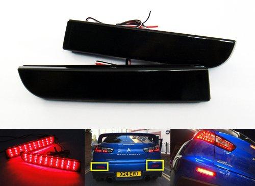 Lot de 2 réflecteurs de pare-chocs arrière à LED - Noir fumé - Feux de freinage DRL - Pour Lancer Evo X Outlander ASX