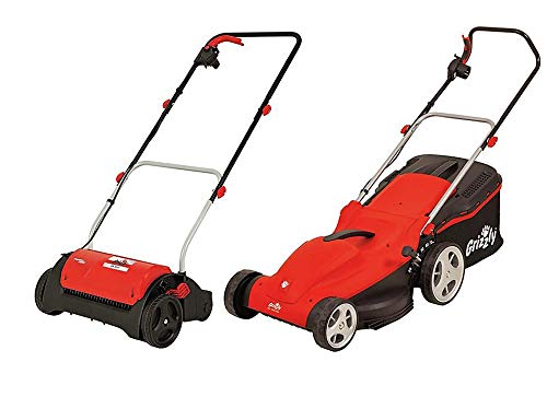 Grizzly Tools Rasenpflegeset Elektro Rasenmäher 44 cm Schnittbreite 1700 Watt und Elektro Vertikutierer Arbeitsbreite 31 cm 1200 Watt