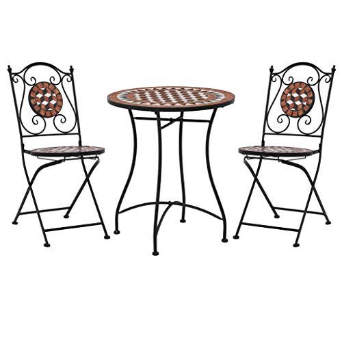Festnight 3-delige Bistroset mozaïek keramische tegel Fauteuil sofa bank lounge familie woonkamer theater stoel tuintafel en stoel set terracottakleurig