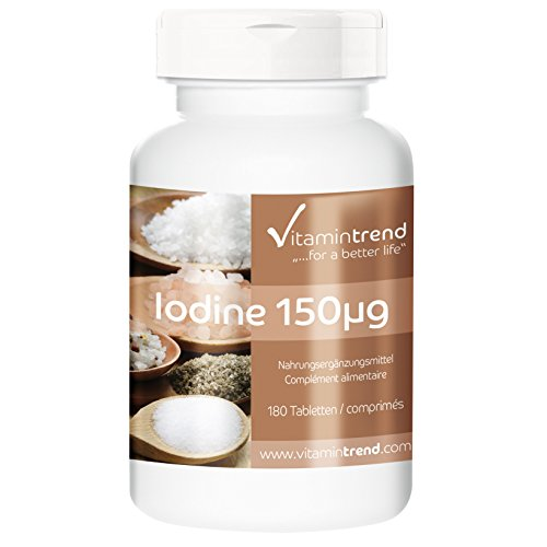 Iodine 150mcg - ! Bulk Pack for 6 Months! - Vegan - Potassium Iodide - 180 Tablets